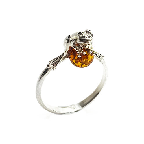 Sterling Silver 925 Amber Stone Frog Ring