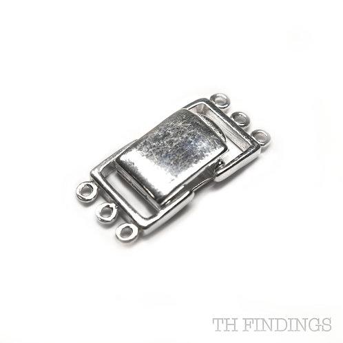 Sterling Silver 3 Hole Fold Over Bracelet Fastener