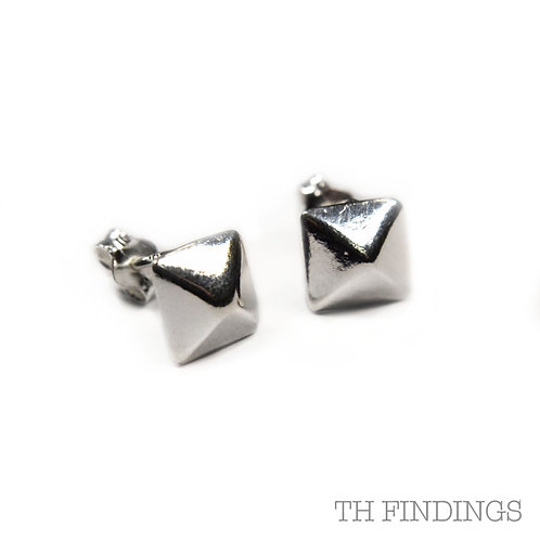 Sterling Silver 925 Rhodium Plated Tribal Earstuds