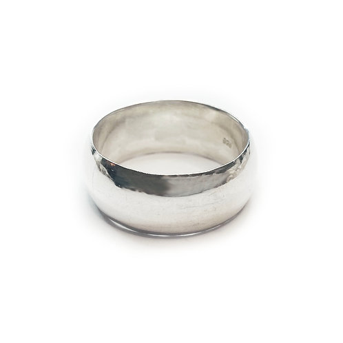 Sterling Silver 925 8mm D-Shaped Band Hammered Ring