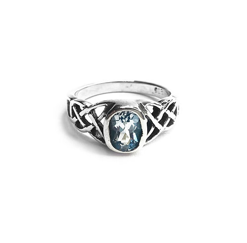 Sterling Silver 925 Aquamarine Cubic Zirconia Celtic Knot Ring