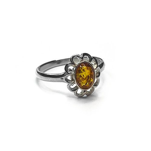 Sterling Silver 925 Yellow Amber Daisy Ring