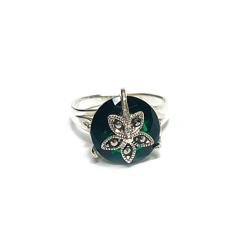 Sterling Silver 925 Emerald CZ Floral Ring