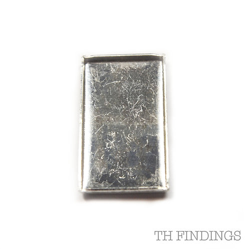 Sterling Silver 925 Rectangular 12 x 22mm Flat Edge Collet