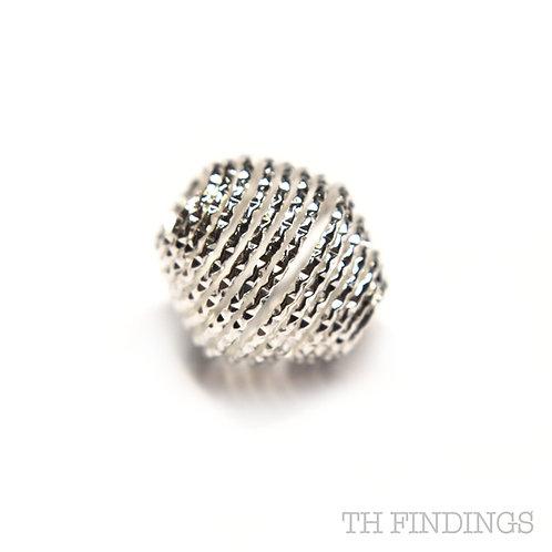 Sterling Silver 925 Diamond Cut Wire Barrel Bead