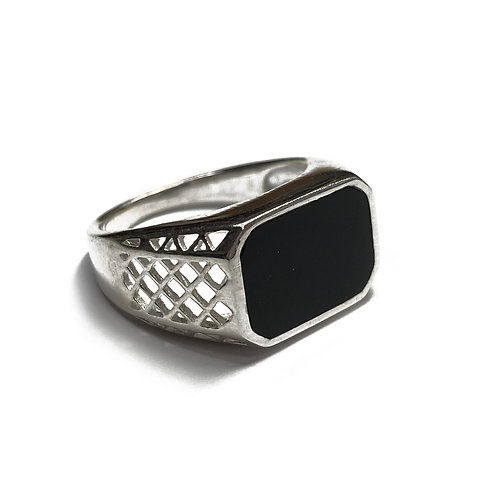 Sterling Silver 925 Size R Antique Finish Onyx Statement Ring