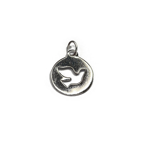 Sterling Silver 925 Dove Disc Charm