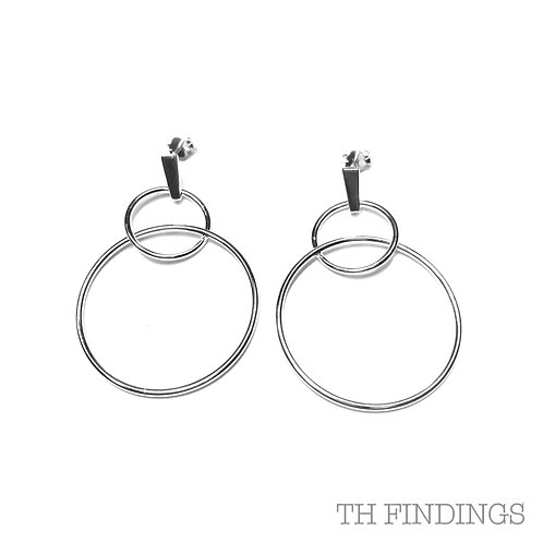Sterling Silver 925 Double Hoop Silver Stud Earrings