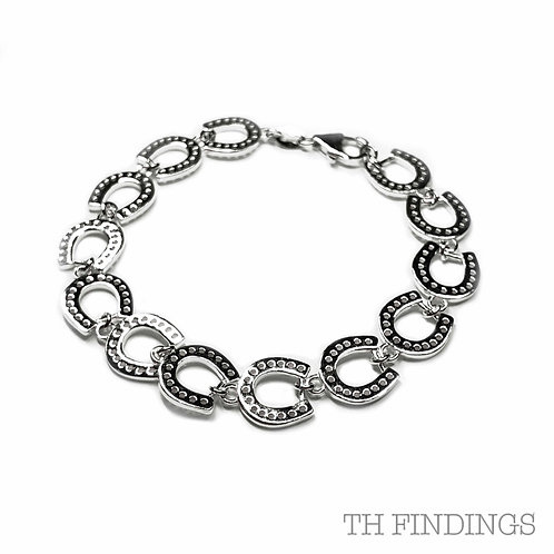 """Sterling Silver 925 7.5"""" Bracelet with Horseshoe Charms"""