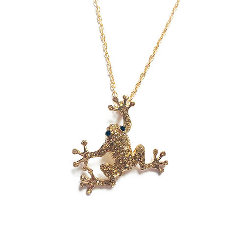 Gold Plated CZ Frog Necklace