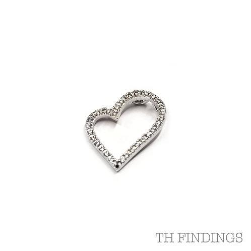 Sterling Silver 925 Cubic Zirconia Heart Pendant