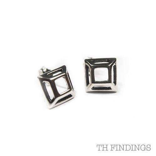 Sterling Silver 925 Half Pyramid Earstuds