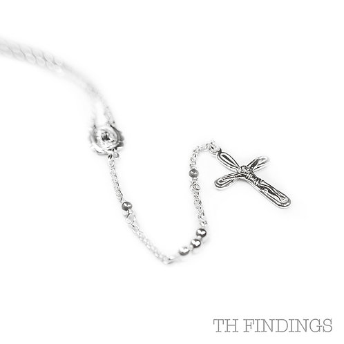"Sterling Silver 925 24"" Rosary Chain & Cross"