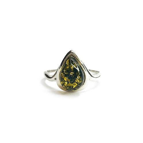 Sterling Silver 925 Green Amber Teardrop Stone Ring