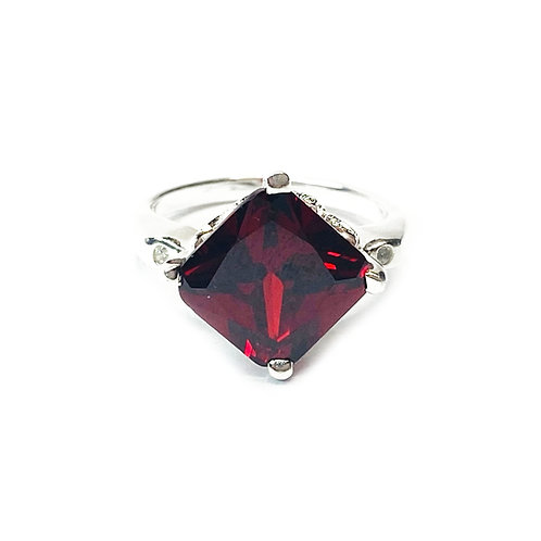 Sterling Silver Ruby Red Cubic Zirconia Ring
