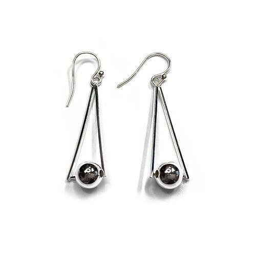 Sterling Silver 925 Triangle & Ball Fish Hook Earrings