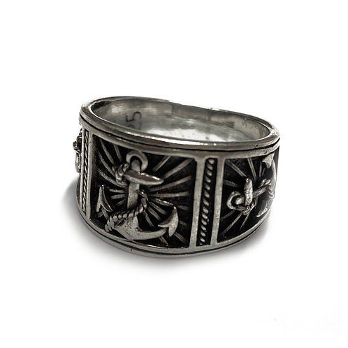 Sterling Silver 925 Antique Finish Naval Ring