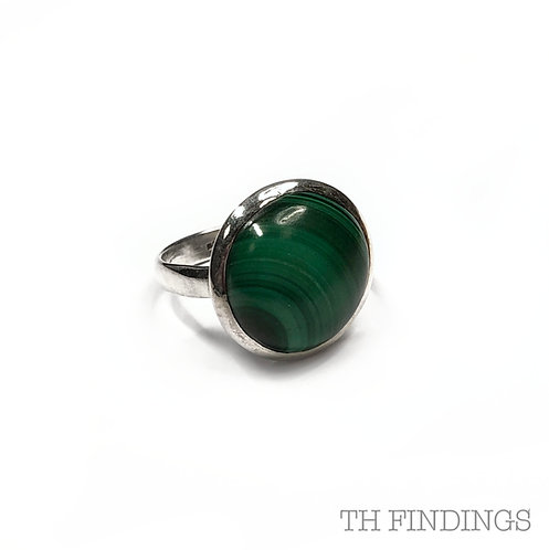 Malachite Semi Precious Sterling Silver Ring - Size R