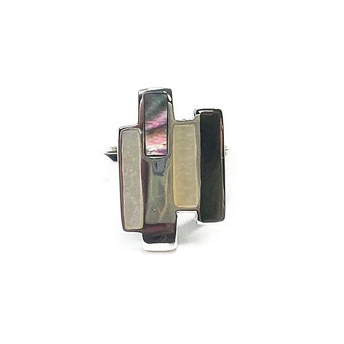 Sterling Silver 925 Abelone & Mother of Pearl Ring  Ring