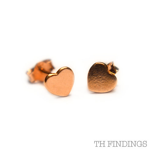 Sterling Silver 925 Rose Gold Plated Heart Earstuds