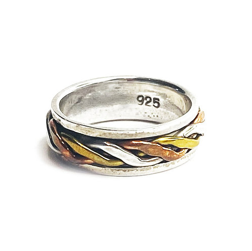 Sterling Silver 925 Antique Finish Plated Spinner Ring