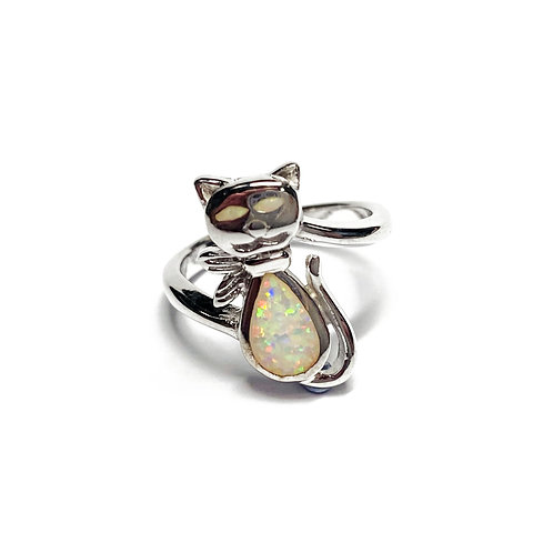 Sterling Silver 925 Iridescent Opal Cat Pet Lover Ring