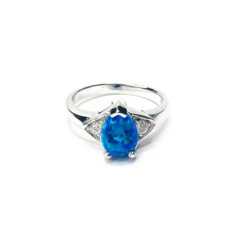 Synthetic Opal & CZ Fashion Ring