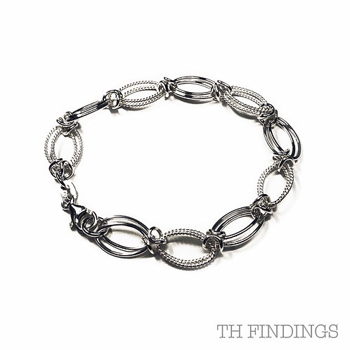 "Sterling Silver 925 7.5"" Double Oval Link Bracelet"
