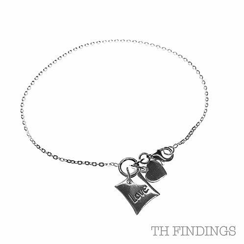 Sterling Silver 925 Heart Charm Bracelet