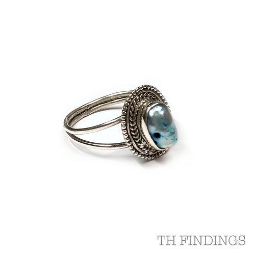 Abalone Shell Semi Precious Sterling Silver Ring