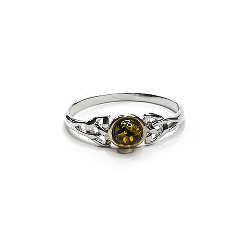 Sterling Silver 925 Green Amber Ring