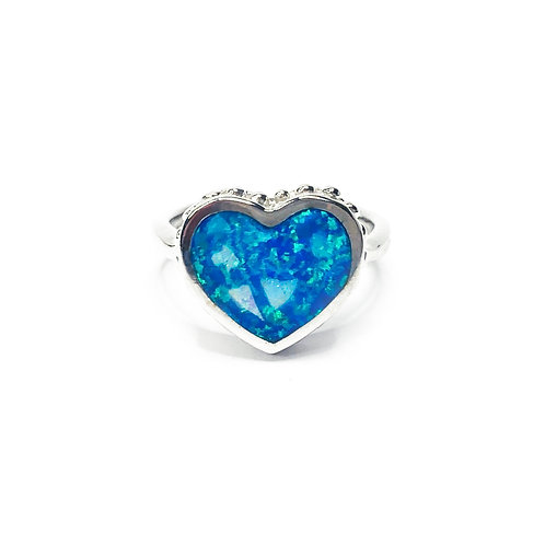 Synthetic Blue Opal Heart Ring