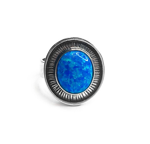 Sterling Silver 925 Synthetic Blue Opal Statement Ring