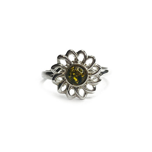 Sterling Silver 925 Green Amber Daisy Ring