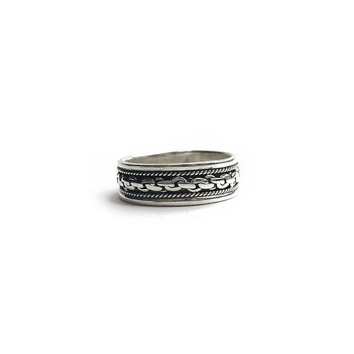 Sterling Silver 925 Antique Finish Chain Ring