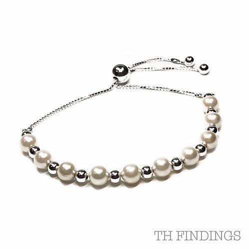 Sterling Silver 925 6mm Faux Pearl Adjustable Bracelet