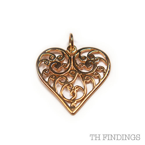 Sterling Silver 925 Rose Gold Plated Filagree Heart Pendant