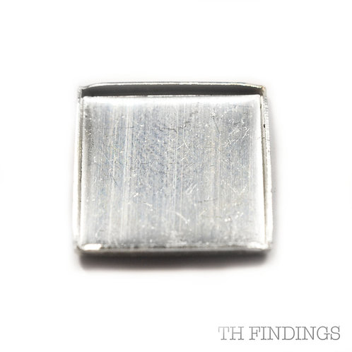 Sterling Silver 925 15mm Square Flat Edge Collet