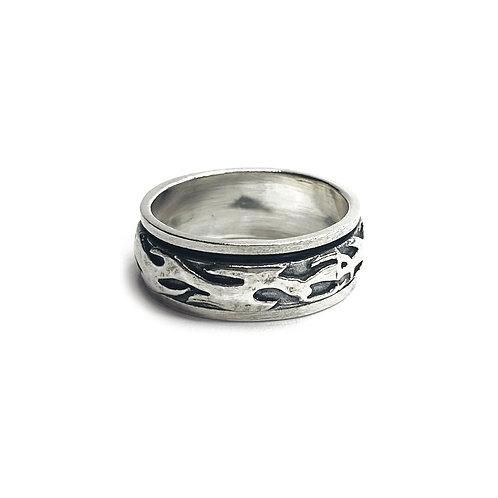 Sterling Silver 925 Antique Finish Flame Textured Ring