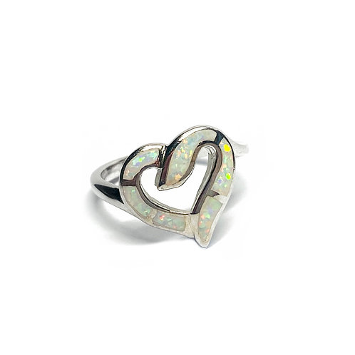 Sterling Silver 925 Iridescent Opal Love Heart Ring