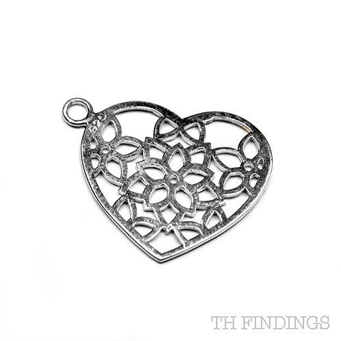 Sterling Silver 925 Heart Shaped Flower Charm