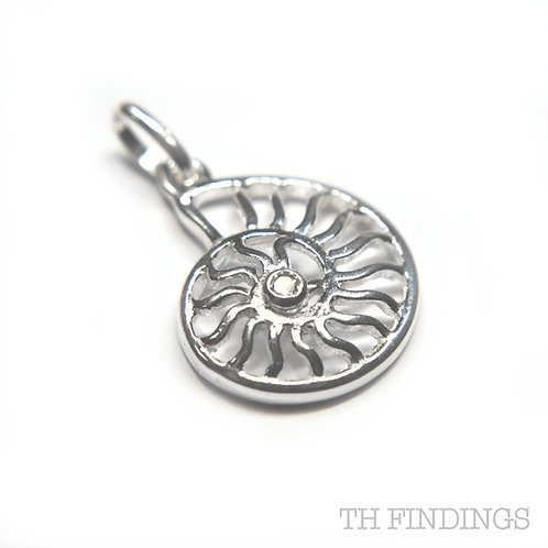 Sterling Silver 925 Ammonite Fossil Shell Charm with CZ Detail