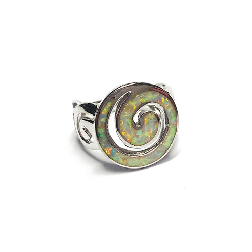 Sterling Silver 925 Iridescent Opal Spiral Ring