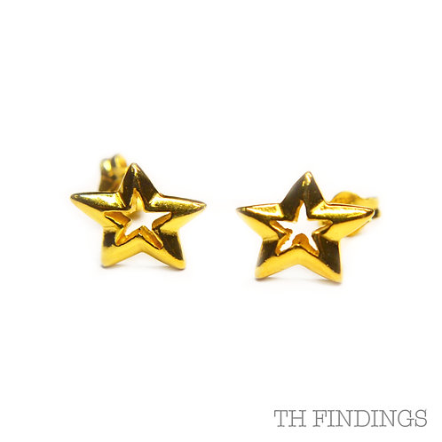 Sterling Silver 925 Gold Plated Star Earstuds