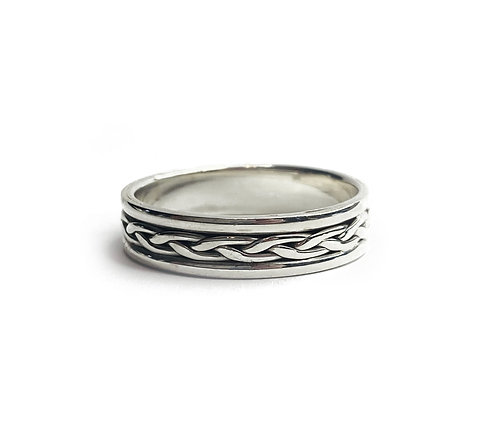 Sterling Silver 925 Antique Finish Celtic Braid Ring