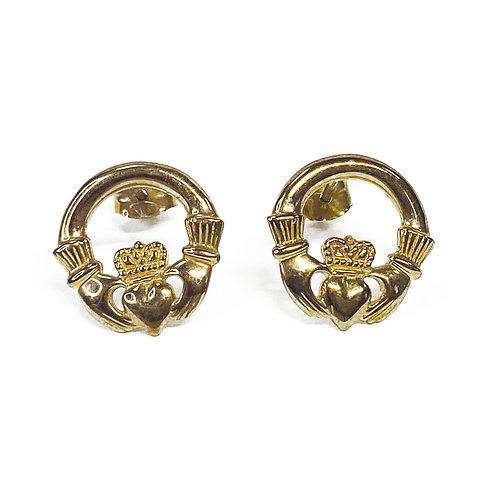 9ct Gold Claddagh Hoop Earrings