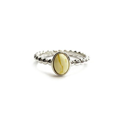 Sterling Silver 925 White Amber Ball Band Ring