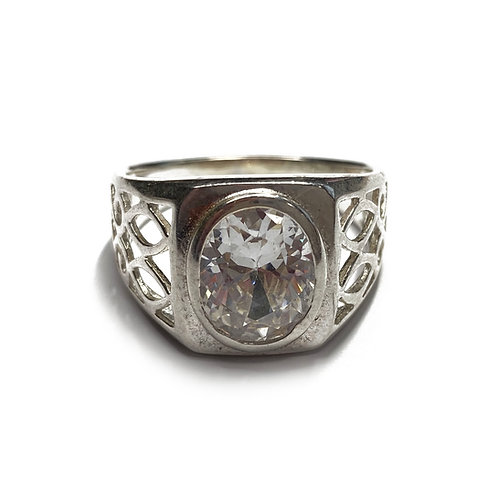 Sterling Silver 925 Size X 11mm Cubic Zirconia Ring
