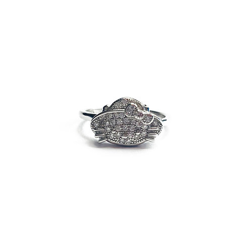 Sterling Silver 925 Hello Kitty Face Ring