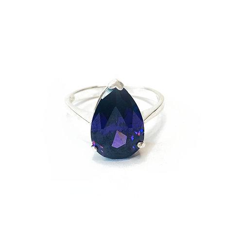 Sterling Silver Amethyst Cubic Zirconia Ring